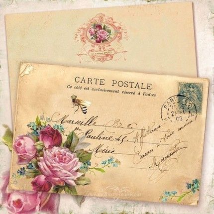 Post card - French bee/roses