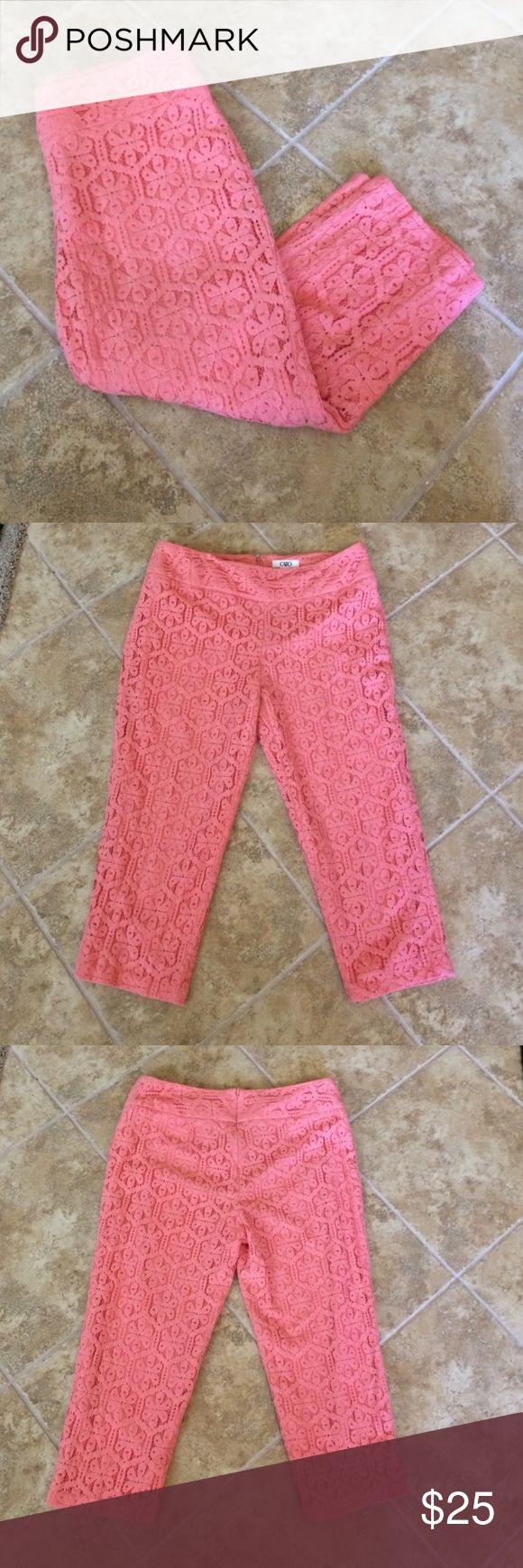 Coral capris from Cato. Size 8. Coral capris from Cato. Size 8. 60% cotton, 40% nylon. Adorable flower patterned Capri pants. Cato Pants Capris