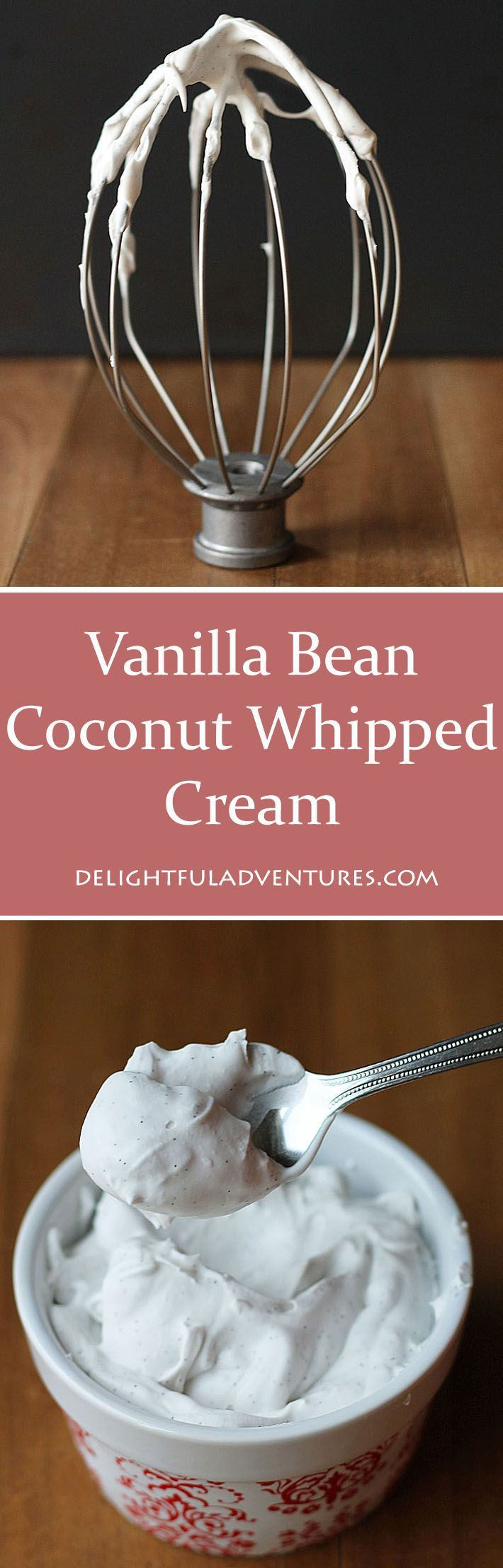 Try this decadent, creamy, dairy-free vanilla bean coconut whipped cream as a delicious (and better!) replacement for regular whipped cream. #vegan #coconutwhippedcream #vegandessert #veganglutenfree