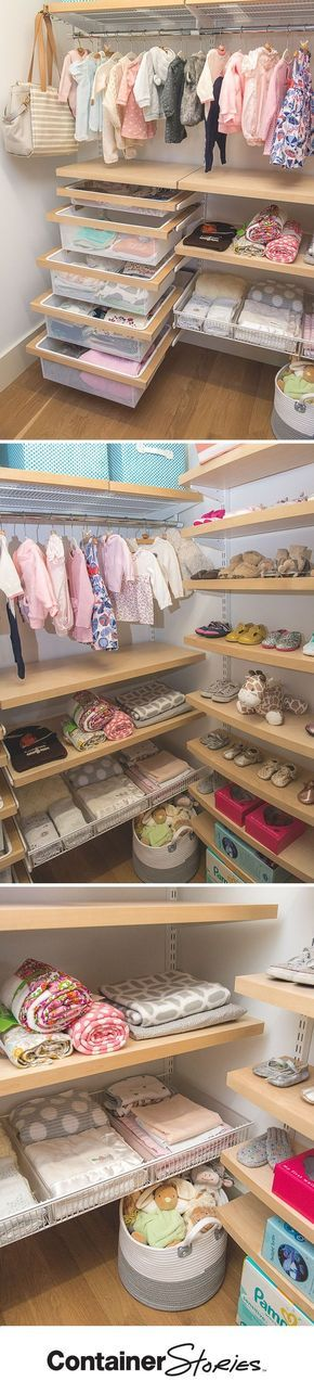 HGTV star, Peyton Lambton, loved the design of her daughter's new closet. Solid birch-trimmed decor drawers put everything from bibs to onsies within reach, while adorable outfits hang above. A combination of solid Birch Decor Shelves and open Shelf Baskets organize everything from blankets to shoes.