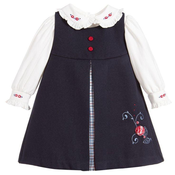 Pretty Originals Girls Blue Pinafore Dress Set at Childrensalon.com