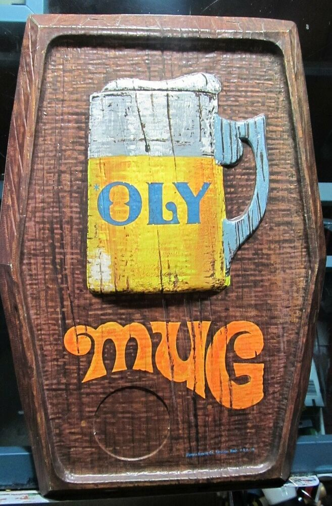 Vintage Olympia Beer Sign Oly Mug Tumwater Brewing Washington Usa Beer Signs Oly Beer