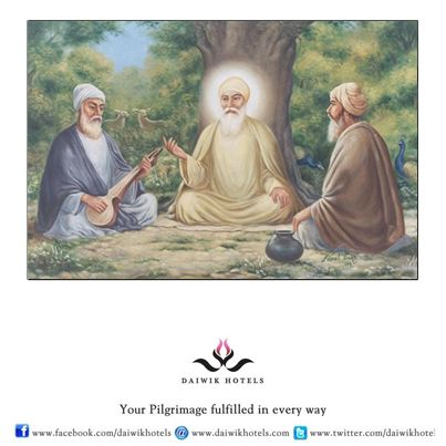 Guru Nanak was married to Sulakhni and had two sons but his spiritual quest made him leave home when he was thirty. He wandered all across the Indian subcontinent in the company of his friend Mardana, a Muslim who played the musical instrument called rabab. During his travels Guru Nanak began composing beautiful hymns that he sang accompanied by Mardana. These were later collected in the Sikh holy book Guru Granth Sahib.