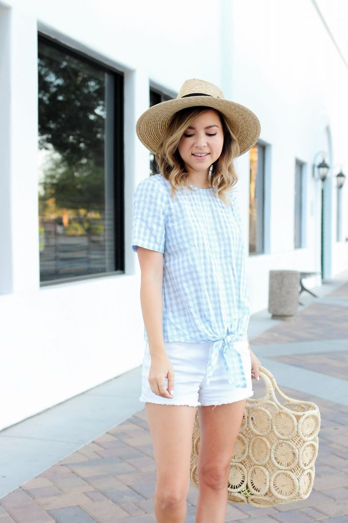 1d4e1384c73 Simply Sutter - Summer outfits - Gingham top - straw hat