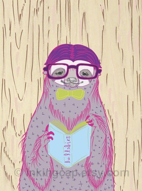 Grab A Book - Nerdy Sloth Illustration Art Print 8.5 x 11