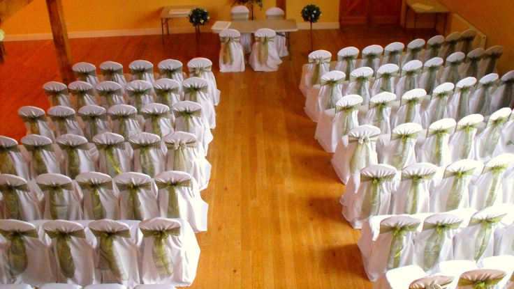 Sage Green Organza Bows on White Chair Covers