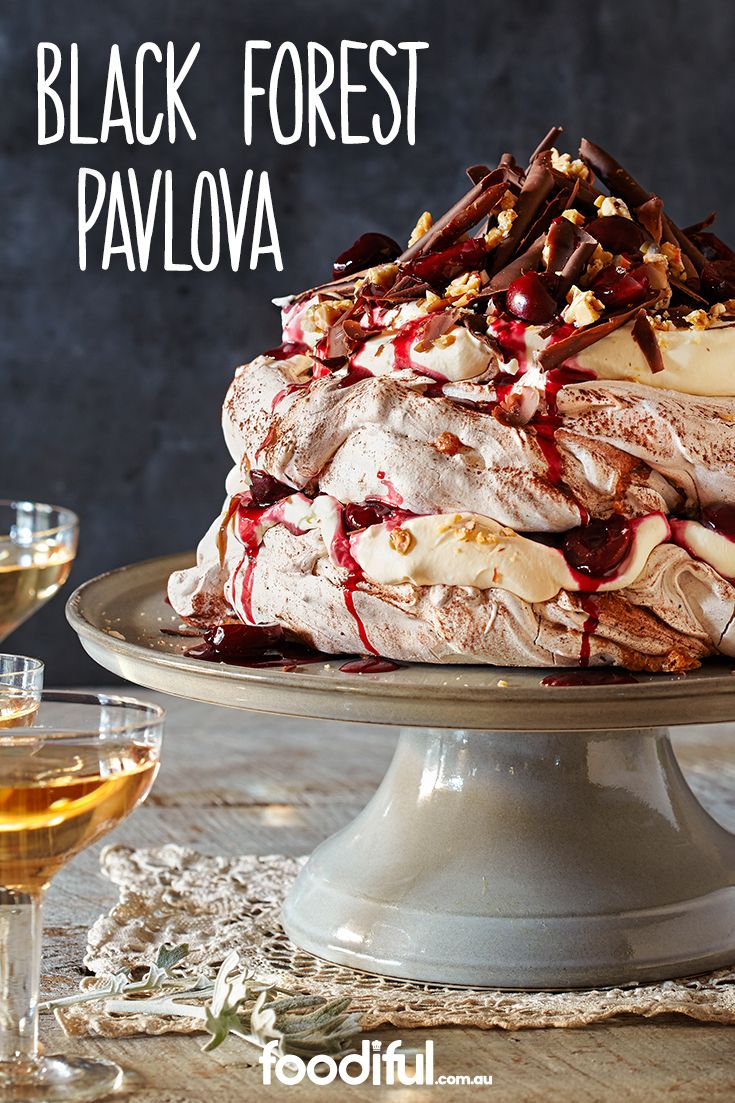 A show-stopping, extravagant dessert pavlova that will be the cherry on top of a fabulous dinner. With fresh cherries, flaked chocolate, brandy and whipped cream, it will be a sure crowd pleaser. It takes 8 hrs and 20 mins and serves 10 people.
