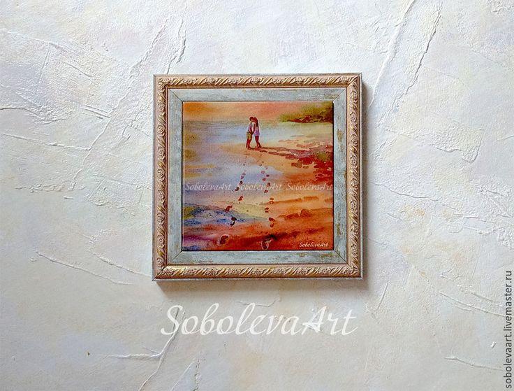 Купить Влюбленная пара на берегу Первый поцелуй Картина Вечер Закат на Море - парень и девушка