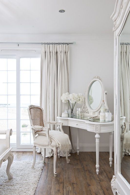 This shabby chic room is so serene due to all of the light, which is reflected off the white furniture. For a truly peaceful bedroom, choose an all white colour scheme. BR x
