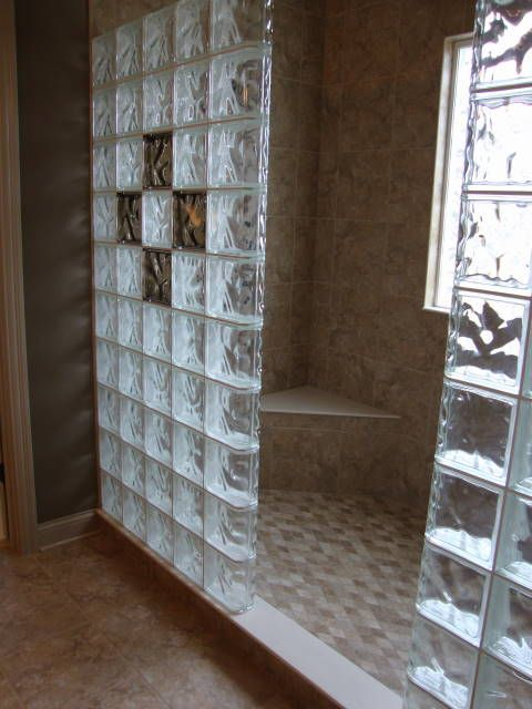 Glass bricks for bathroom window glass block shower wall for Glass bricks designs
