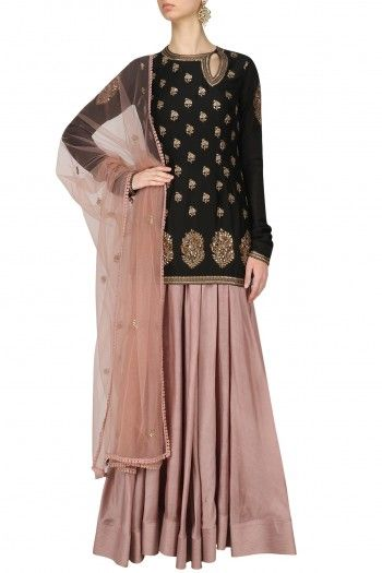 Radhika Airi Black Short Kurta and Pink Skirt Set #happyshopping #shopnow #ppus