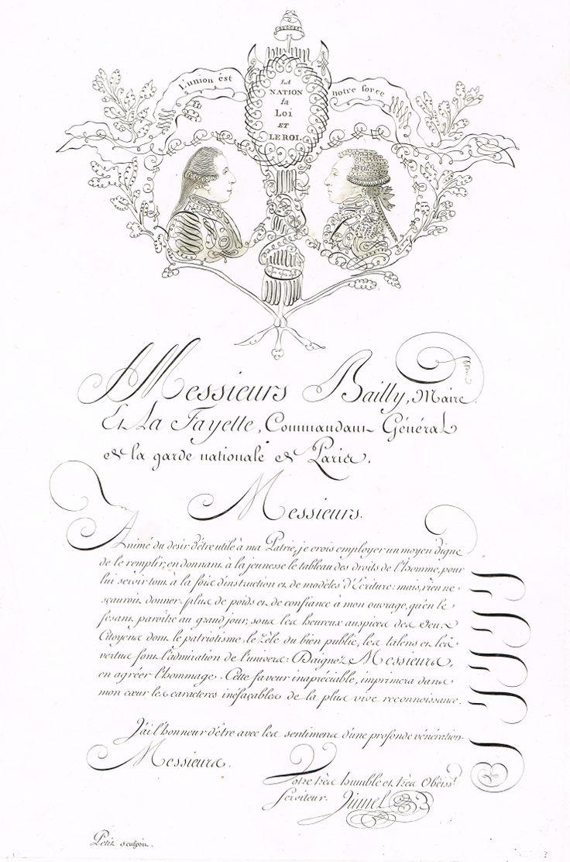 Dédicace à Bailly (Maire) et La Fayette (Commandant Général de la Garde Nationale de Paris) MAS Estampes Anciennes - Antique Prints