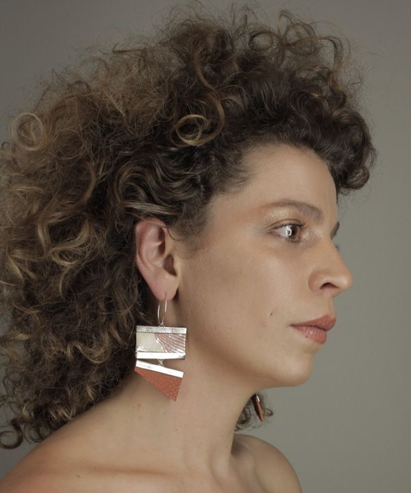 Wallpaper and recycled leather statement earrings from Rio Branner www.riobranner.etsy.com