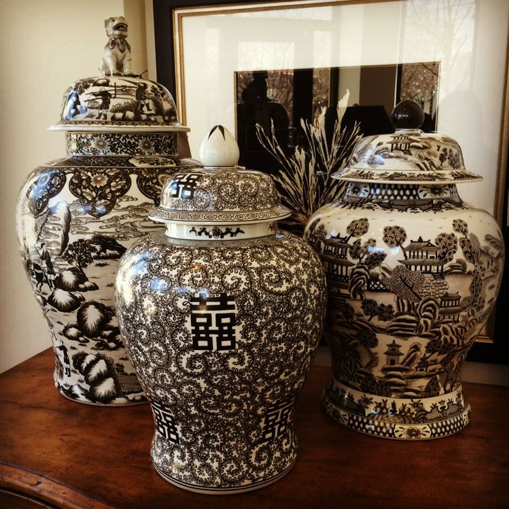 black and white foo dog, ginger jar, temple jar, ethan ...