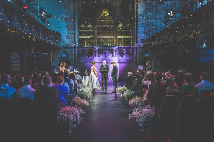 Cottiers is one of Glasgow's coolest wedding venues, look at those lights, Lucy and Crawford had an awesome wedding day :)