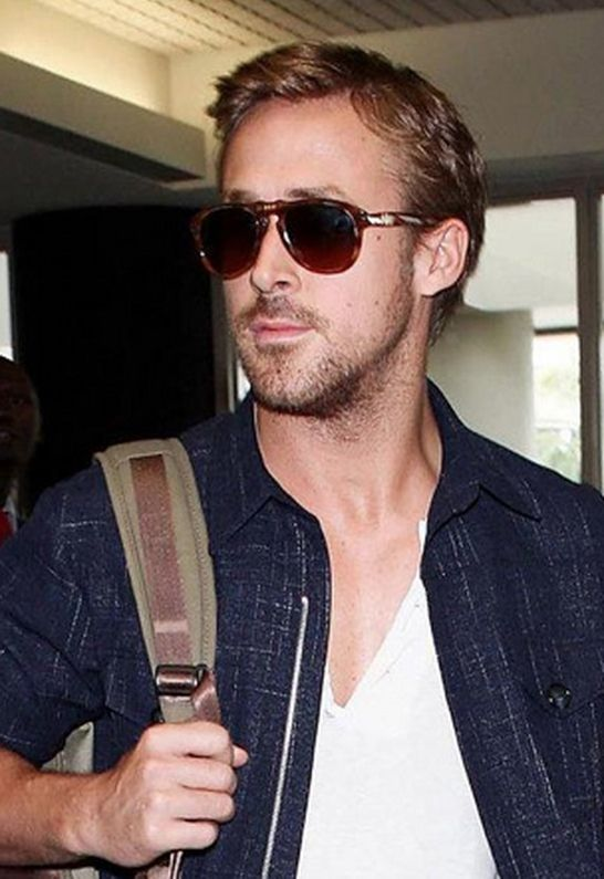 Ryan Gosling wears Persol's PO0714 52 Polarized Suprema Foldable Sunglasses