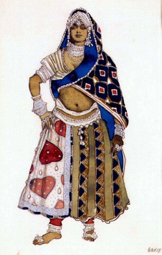 Leon Bakst, Costume design for a Bayadère in Le Dieu bleu, 1912
