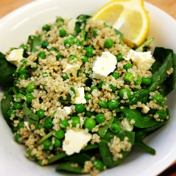 Desk lunch! And a late one! 12wbt Quinoa, Pea & Goats Cheese Salad #delicious