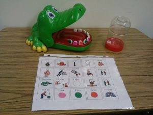Here are two adaptations for the game Crocodile Dentist.  This is a plastic crocodile that has a spring loaded mouth.  The mouth closes when a certain tooth is pushed down. Kids enjoy the suspense …