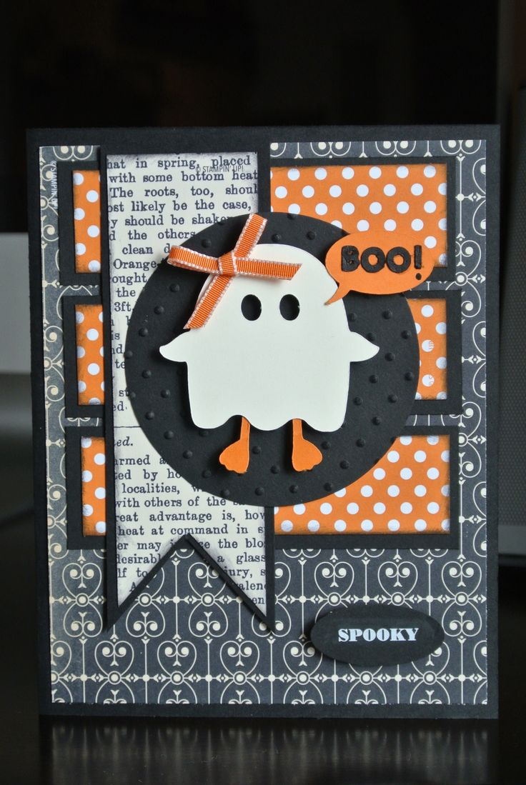 """Cute Halloween Ghost """"BOO"""" Card...picture only for inspiration."""