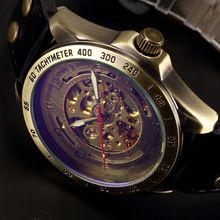 Hot sprzedaż antique automatyczne skeleton mechaniczny zegarek mężczyzna bronze steampunk retro skórzane zegarki analogowe horloges mannen(China (Mainland))
