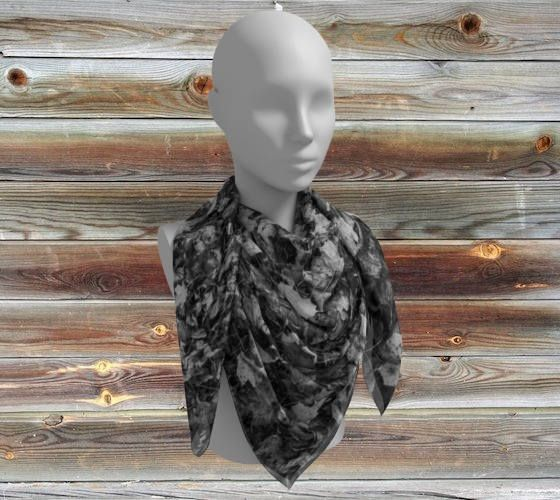 Leaves Square Scarf -Wee Dog Wearable Art-Large Square Scarf -French style -Black&White-Leaves-Crepe Charmeuse Polychiffon-UniquePhotography by WeeDogWearableArt on Etsy