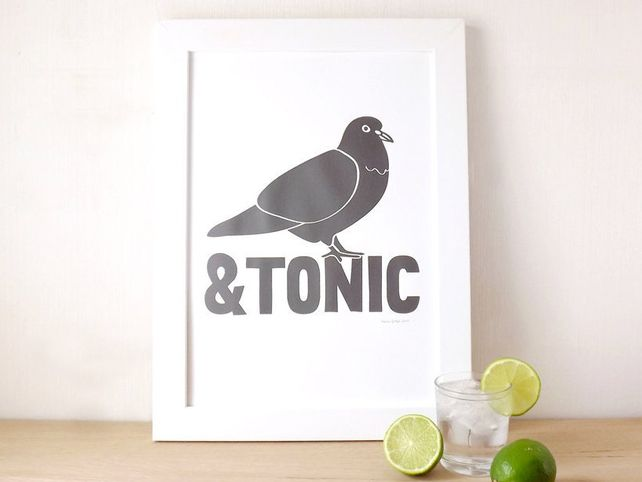 Pigeon and Tonic Screen Print Poster