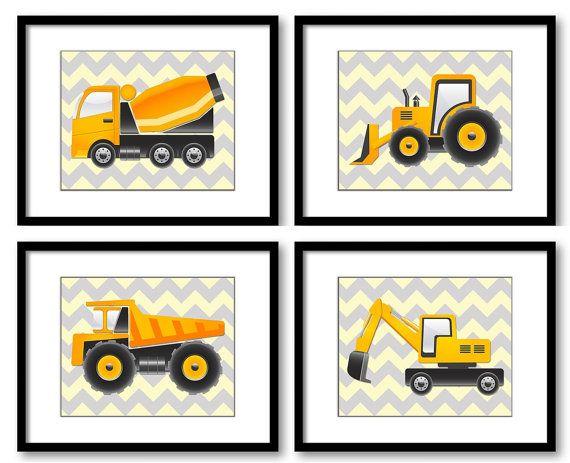 INSTANT DOWNLOAD Construction Vehicles Grey Yellow Chevron Prints Art Kids Wall Art Decor Set of 4 Prints Dump Truck Tractor Cement Boy Room