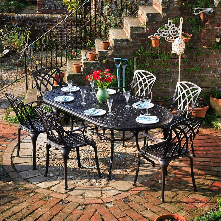 Cast Iron U0026 Aluminium Garden Furniture. CATHERINE 210x105cm Oval Cast  Aluminium Patio Set