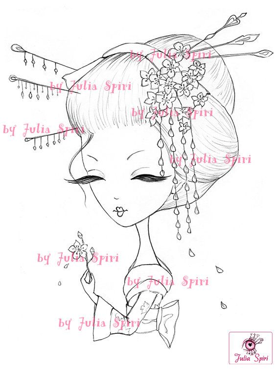 Digi Stamps Paper crafting Digital stamp Geisha by JuliaSpiri