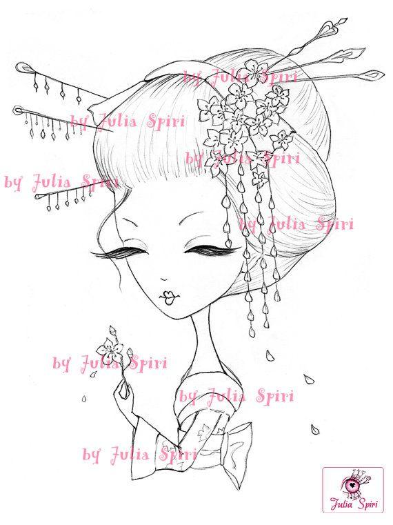 Digi Stamps Paper crafting Digital stamp Geisha by JuliaSpiri