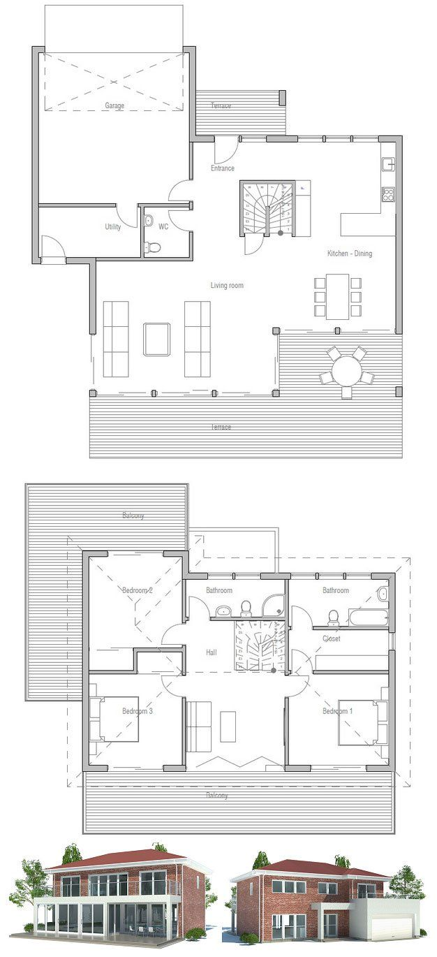 Modern Small Home Plan with three bedrooms, large garage. Floor Plan from ConceptHome.com