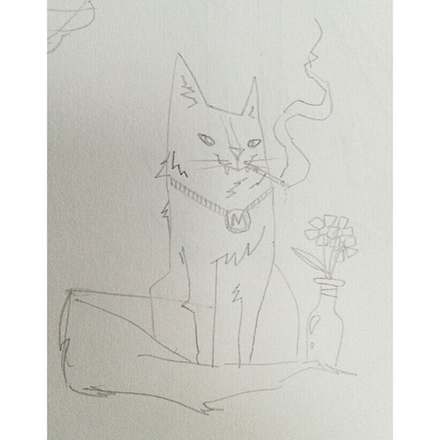 """""""Moshi Cat"""" #kenny_poppins #dailydoodle #drawing #pencil #cat #sketchbook #specialkitty @morganawallace"""