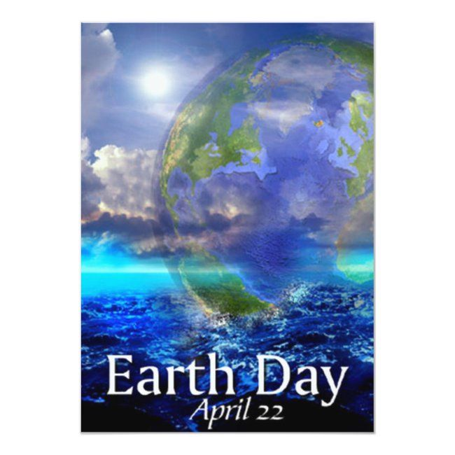 Earth Day Invitation Zazzle Com In 2020 Earth Day Business Holiday Cards Earth