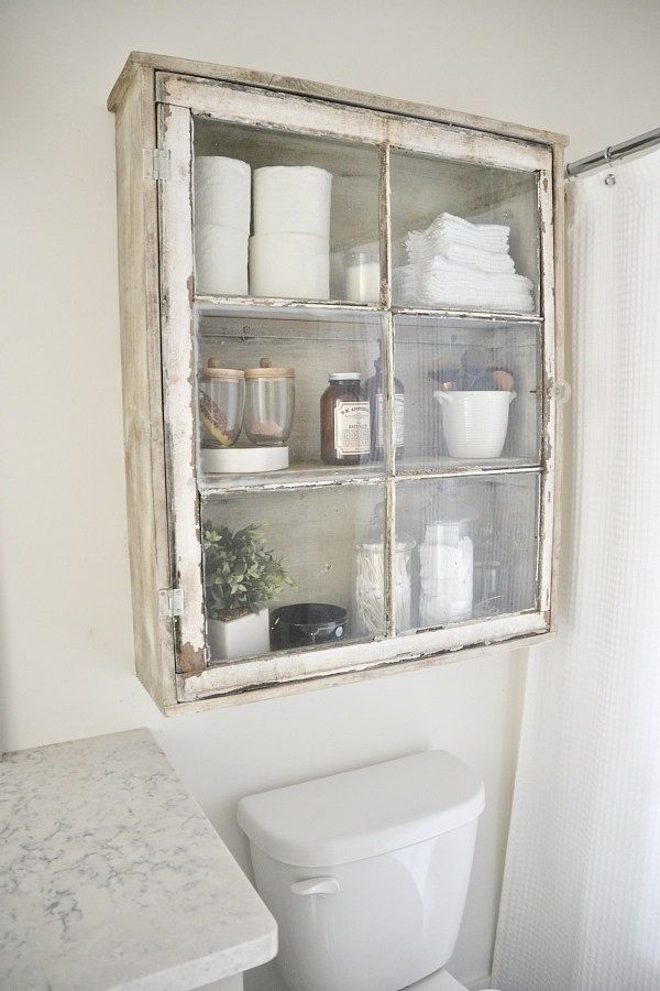 DIY Antique Window Cabinet Over The Toilet Storage.