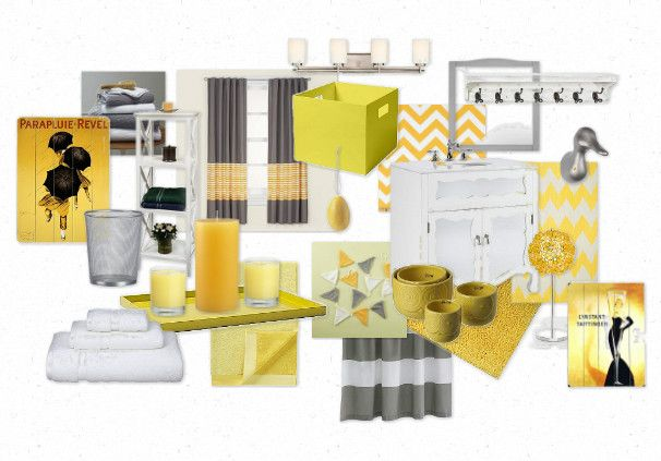 Inspiration Board For Master Bathroom Yellow White And