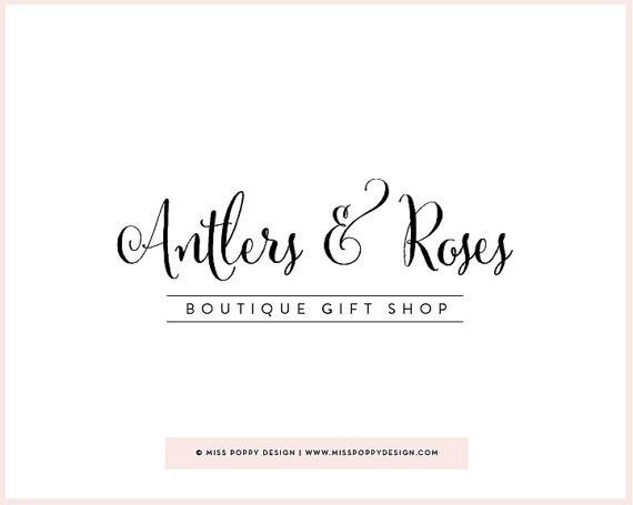 Boutique Pre Made Logo Design 'Antlers & Roses' by MissPoppyDesign, $48.00