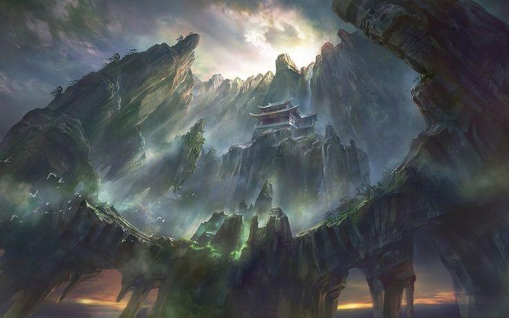 арт, храм, высота, rongrong wang, птицы, скалы, rong rong, азия