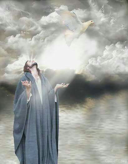 Jesus looking to heaven.