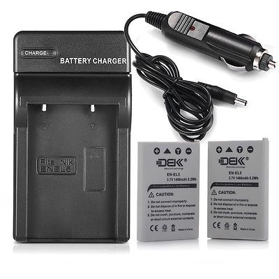 Battery For Nikon Coolpix P510 P520 P530 P90 P100 P500 / 2 Pcs EN-EL5 + Charger