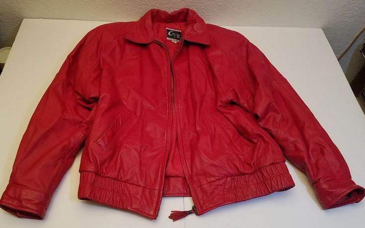 Retro Vintage Global Identity G-III Red Leather Coat Bomber Jacket Ladies size M #GlobalIdentityGIII #Casual
