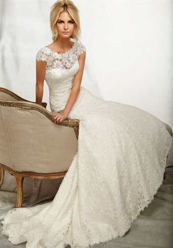 White Ivory Bride Lace Wedding Dress Bridal Custom Size 2 4 6
