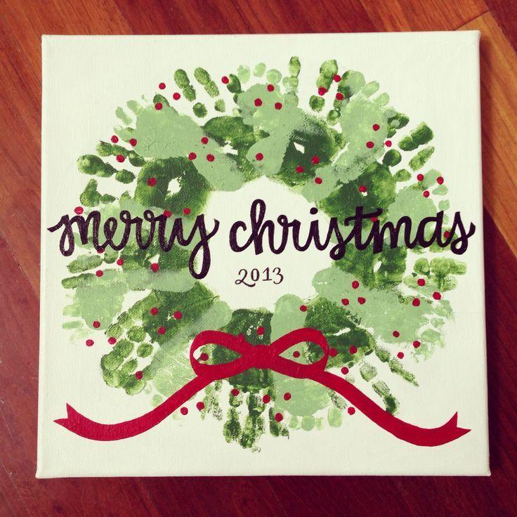 Handprint & Footprint Christmas Wreath Craft I did with the kids I nanny. :) #kids #christmas #craft {By Allison O'Maley} Facebook.com/DesignsByAllisonJoy