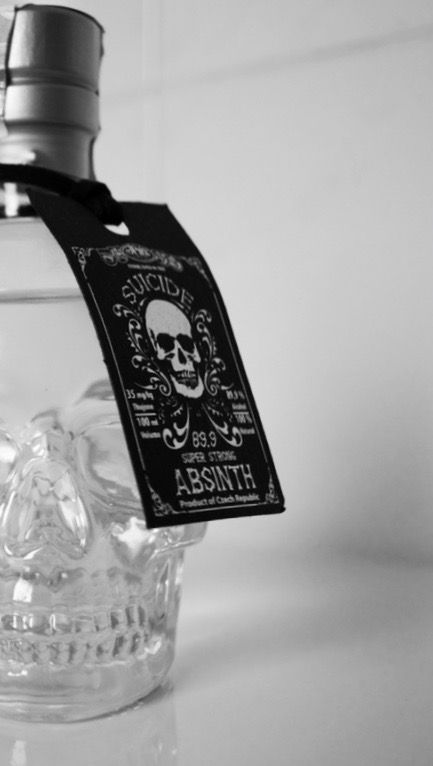 Absinth bottle skull shaped. A souvenir from Prague, 2015.