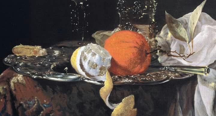 """Detail: Willem Kalf, """"Still life with Fruit and Wineglasses on a Silver Plate"""", c. 1659 - 1660"""