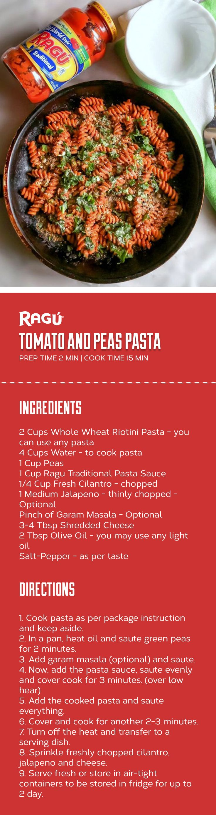 Everyone could use a little extra help in the kitchen – especially when it comes to meal planning. We asked one of our favorite bloggers to use RAGÚ sauce as their inspiration for a dish, so @easycookin2012 made us her tasty Tomato and Peas Pasta.