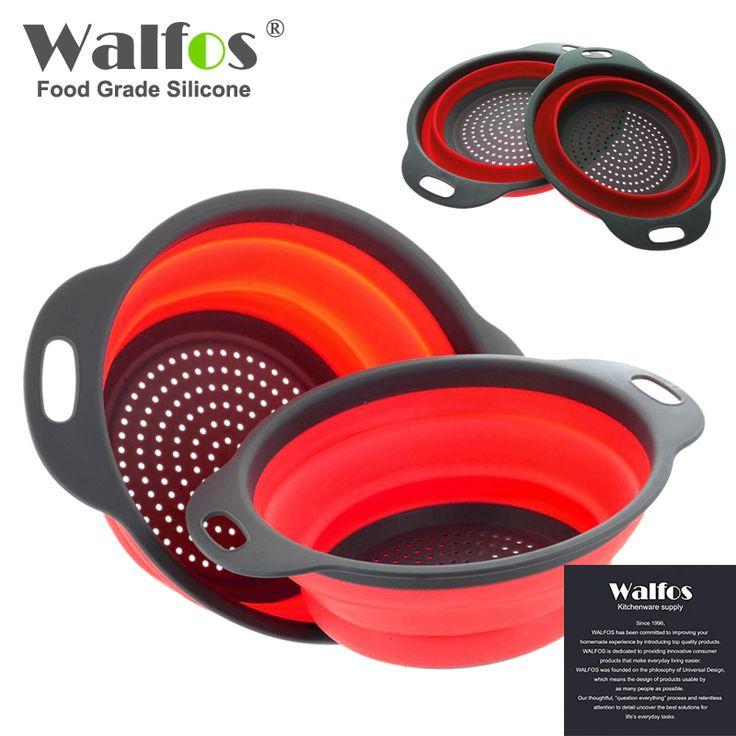 WALFOS 2017 2 pieces baru food grade Silikon Dapur Sayuran Buah Saringan Saringan Dilipat Silikon Drainer