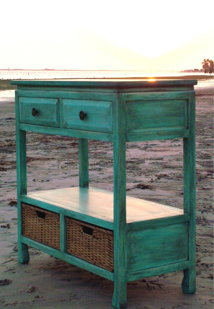 Shabby Beach Cottage Bungalow Distressed Turquoise Stand. $100.00, Via Etsy.
