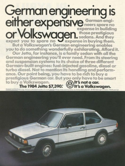 """An original 1984 advertisement for the Volkswagen Jetta. A photo print of this car in silver. Ad detailing sedan has been spared no expense. Performance, quality, and affordable. """"German engineering i"""