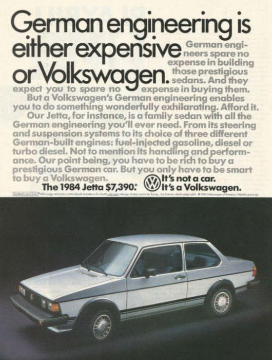 "1984 VW Jetta Car Ad ""German Engineering"""
